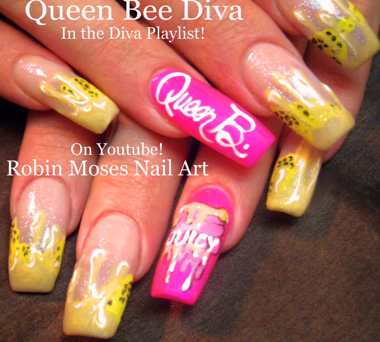 Up For Monday Honey Drips Dripping Down Off Of A French Manicure And Sprinkled With Blebees You Can Do This Gel Or Polish
