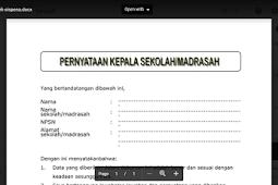 Format Surat Pernyataan Kepala Madrasah Pengiriman Instrumen Akreditasi