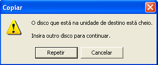 Erro de disco (pendrive) cheio no Windows XP