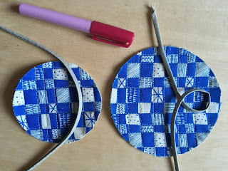 quilted circles being decorated with bias tape applique