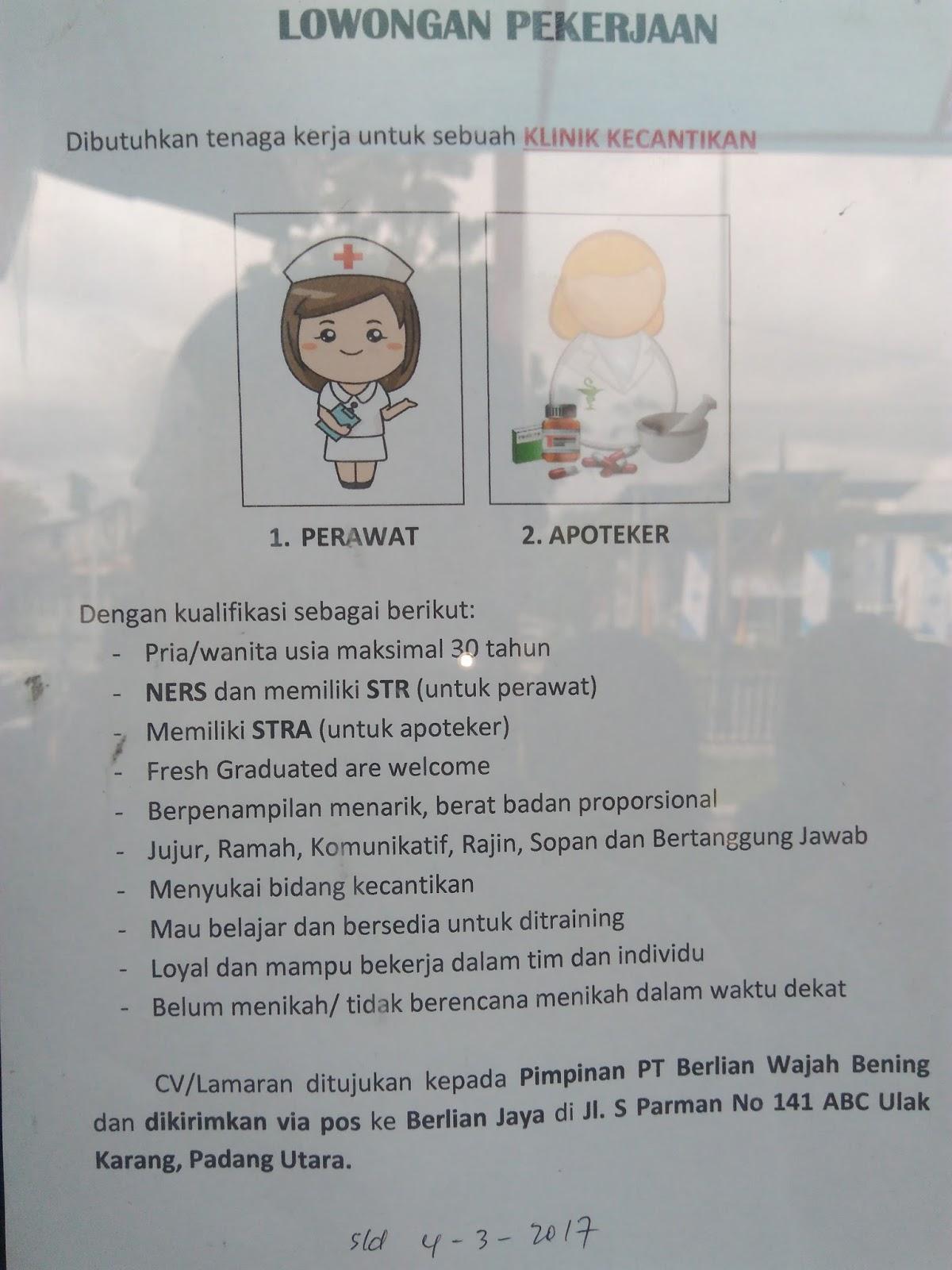 Lowongan Kerja di Padang – PT.Berlian Wajah Bening – Perawat & Apoteker (Closed 4-3-2017)
