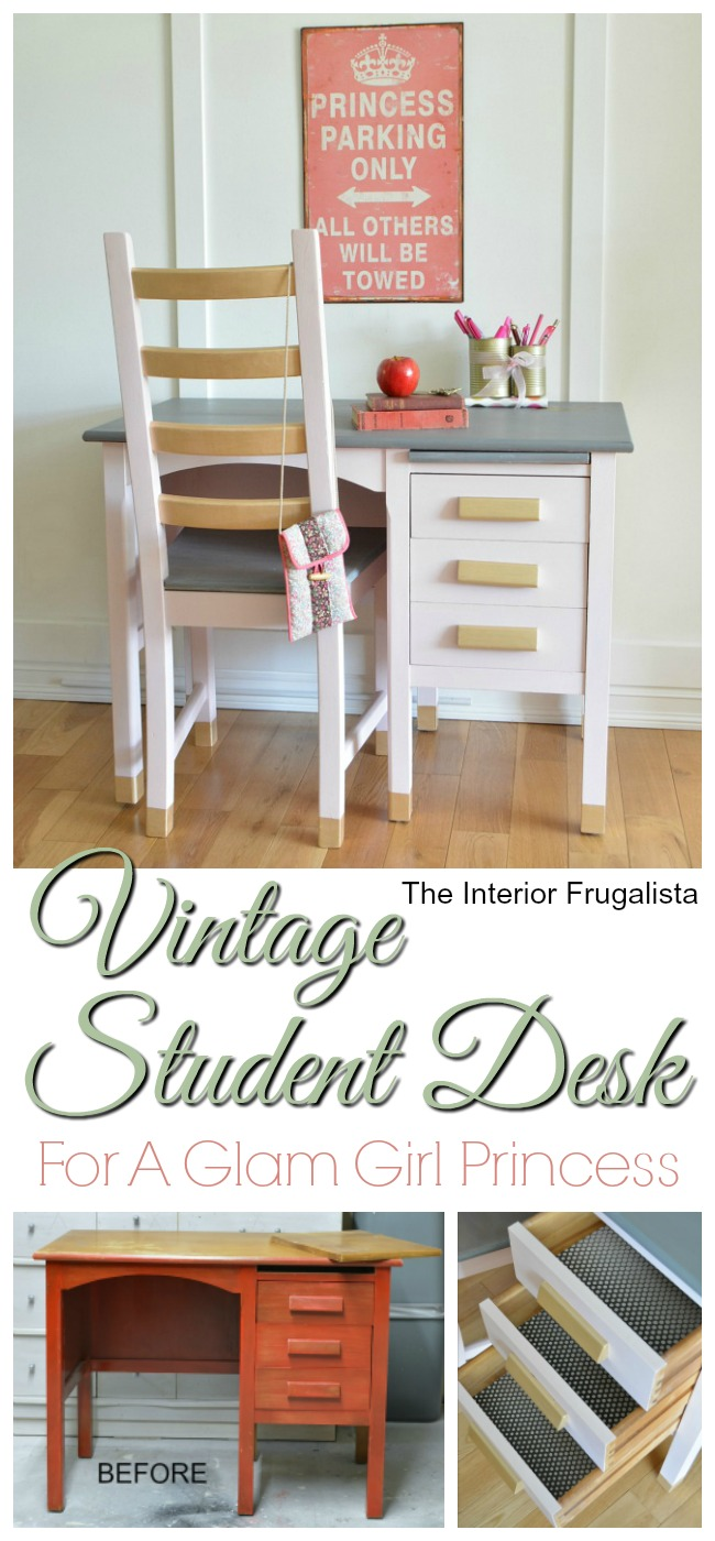Vintage Student Desk Before and After