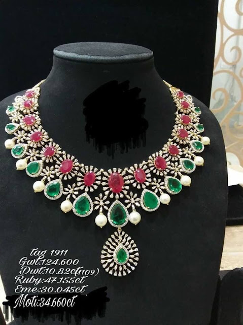 Ruby Emerald Brilliant Diamond Choker