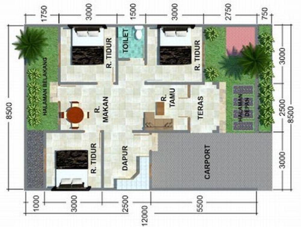 Contoh Denah Rumah Minimalis Type 60 Terbaru