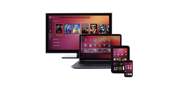 Ubuntu convergence shows the same app running on a phone, tablet, and desktop