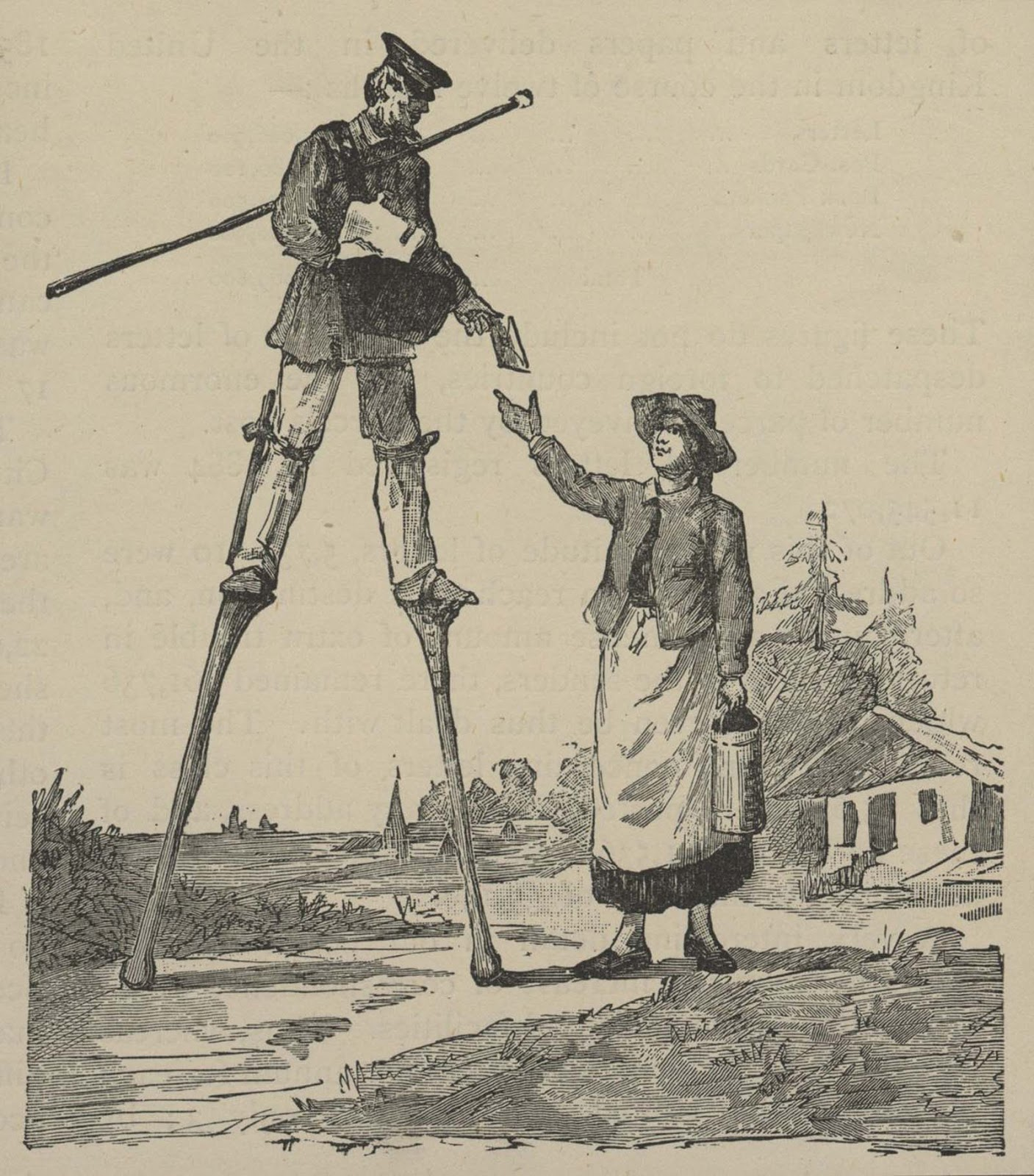 An illustration of a mid-19th century Landes postman. 1850.