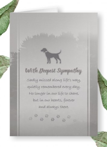 gray dog sympathy poem card $2.95 & 15 percent off
