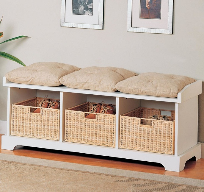 entryway storage bench with cushion ideas