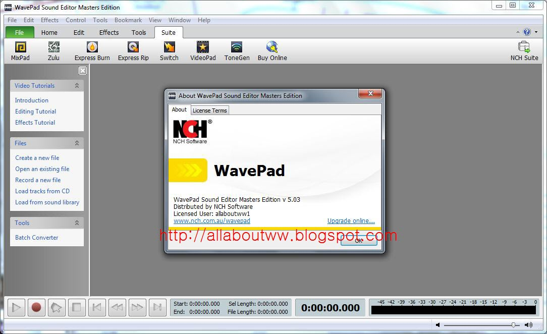 Wavepad 7 05 serial key   WavePad Sound Editor 7 05 Registration