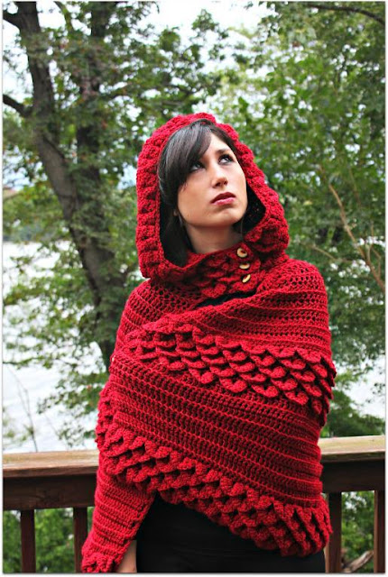 Crocodile Stitch Hooded Cape By Bonita Patterns