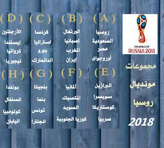 جدول مباريات دور المجموعات من مونديال روسيا 2018
