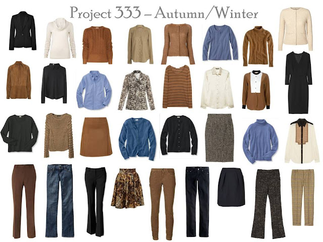 Minimalist Wardrobe Project 333 Fall and Winter Outfits Fashion Blue Brown Black Capsule Wardrobes