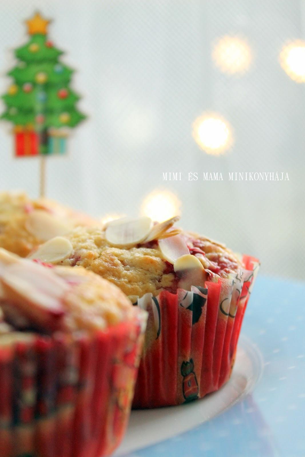 Mandulás-málnás muffin