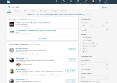 Search options on the new desktop LinkedIn