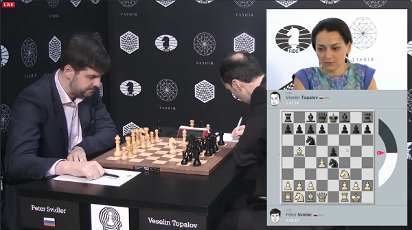 Un affrontement sur l'échiquier entre Peter Svidler (2751) et Veselin Topalov (2780) commenté par Alexandra Kosteniuk - Capture du direct © Chess & Strategy
