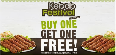 Kabab Festival Offer: Buy 1 get 1 Kabab Free at Foodpanda (Offer Valid till 17th Nov'13 for Pune, Mumbai, Ahmedabad & Hyderbad)