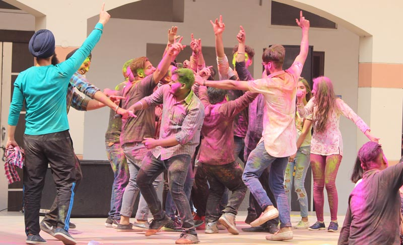 Students celebrating Holi at Bajaj College
