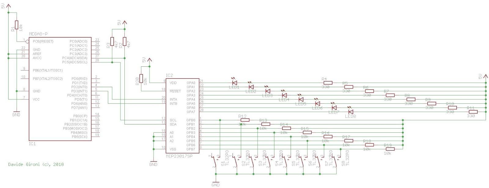 Davide Gironi: Usa a MCP23017 GPIO port expander with an