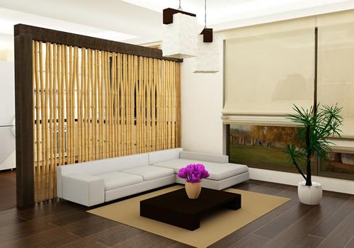 Contoh desain rumah minimalis satu lantai dengan sekat bambu
