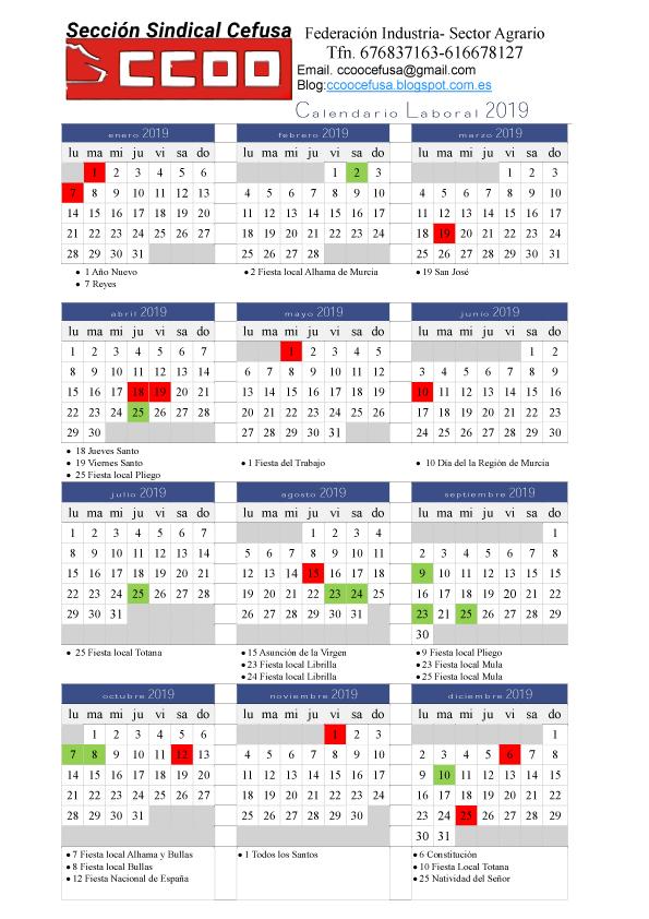 Calendario 2019 Murcia.Calendario Laboral Y Festivos 2019