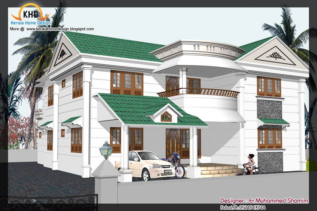 3d Front Elevation Of Houses In Dubai : Home elevation design in d kerala and floor