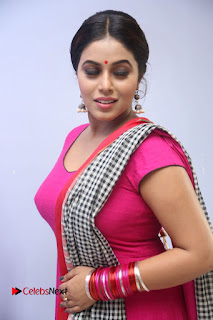 Actress Poorna Pictures in Red Salwar Kameez at Jayammu Nischayammu Raa Teaser Launch 0110
