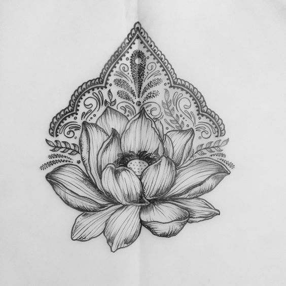 Lotus and Partternwork tattoo designs