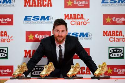 Messi Raih Sepatu Emas Eropa Untuk Keempat Kalinya