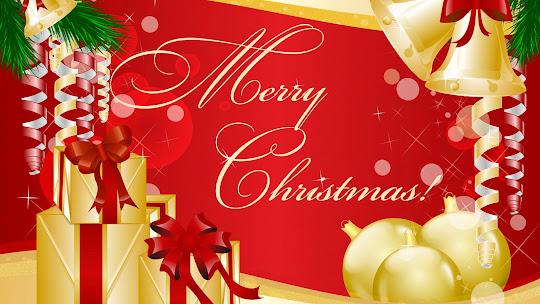 download besplatne Božićne pozadine za desktop 1920x1080 HDTV 1080p čestitke blagdani Merry Christmas kuglice za bor zvončići pokloni