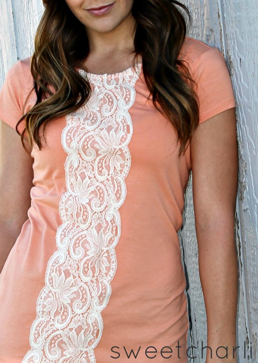 Refashion - Easy Lace Shirt DIY - Sweet Charli