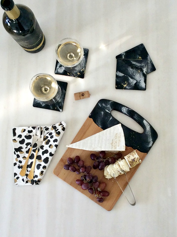 Black and white marble resin coasters and serving board