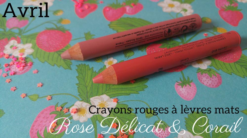 Crayon rouge à lèvres bio mat Avril Rose délicat et Corail
