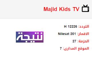 تردد قناة ماجد للأطفال Majid Kids TV الجديد 2018 على النايل سات