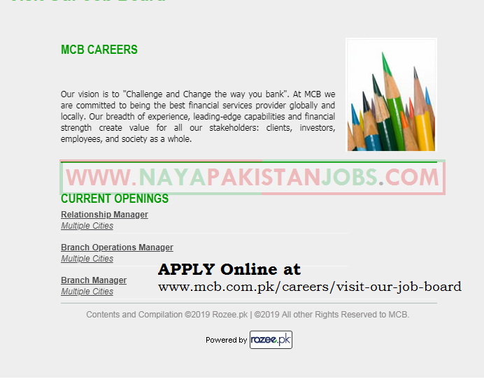 MCB Careers 2019, MCB Jobs, MCB Bank Jobs 2019 February for Branch Manager, Relationship Manager