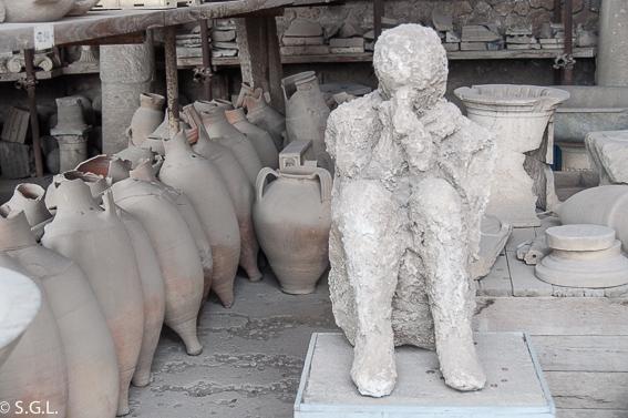 Molde figura humana Pompeya, ruinas ciudad romana