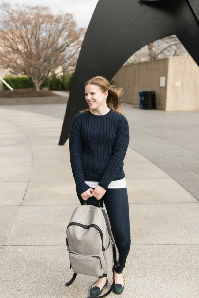 The Cable Knit Sweater | Something Good, women, fashion, winter outfits, fall style, jeggings, skinny jeans, AEO, american eagle outfitters, ll bean cable knit double l sweater, everlane backpack, tartan flats