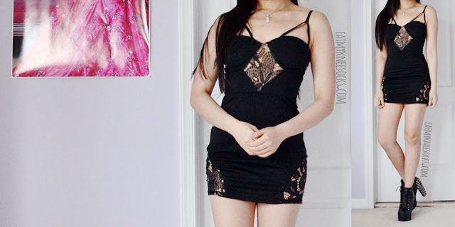 Black strappy lace bodycon dress with semi-sheer lace cutout paneling from Dresslink.