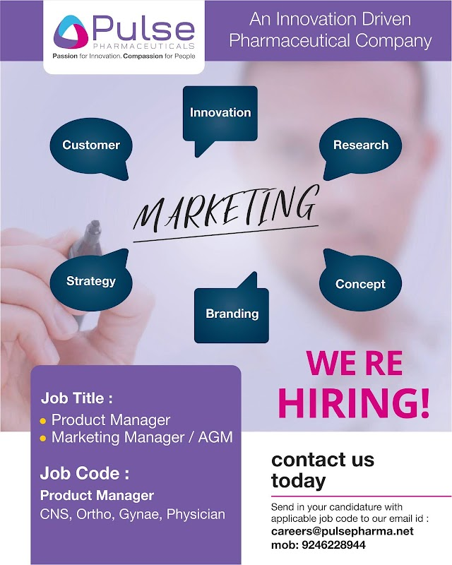 Pulse Pharmaceutical Job Openings For Sr, Marketing and Product  Manager Apply Now
