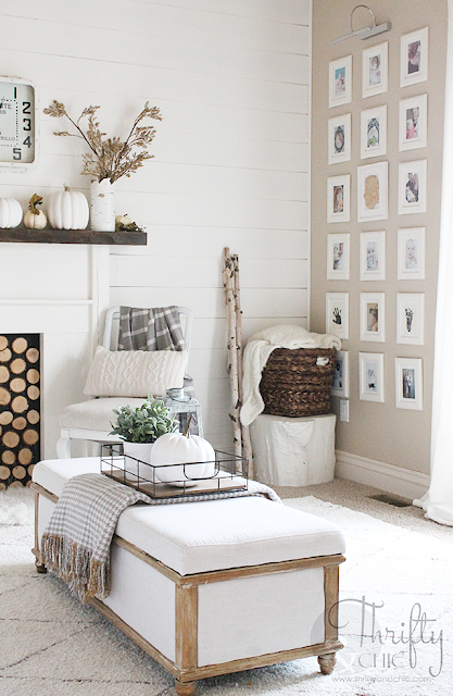 Farmhouse decor and decorating ideas for living room. White living room. DIY shiplap