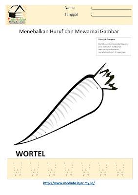 Lembar Kerja Paud Menebalkan Huruf W dan Mewarnai Gambar Wortel