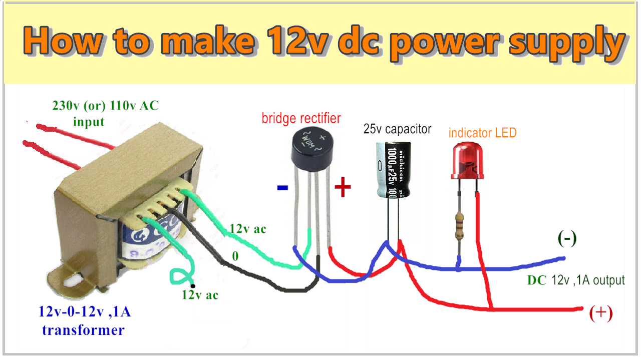 how to make 12v 1a dc power supply 230 ac to 12v dc without the regulator [ 1280 x 713 Pixel ]