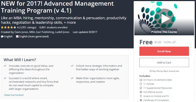 [100% Off] NEW for 2017! Advanced Management Training Program (v 4.1)| Worth 135$