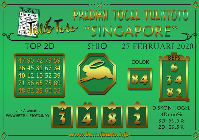 Prediksi Togel SINGAPORE TULISTOTO 27 FEBRUARI 2020