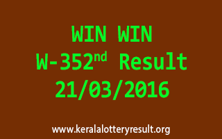 WIN WIN W 352 Lottery Result 21-3-2016