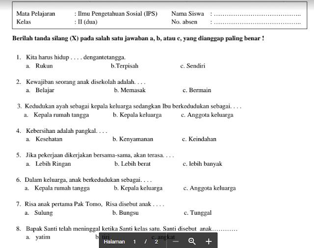 Download Soal UAS/UKK Semester 2 Keas 1 Sampai 6 MI