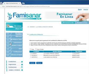 Certificado de Afiliacion Famisanar en Linea