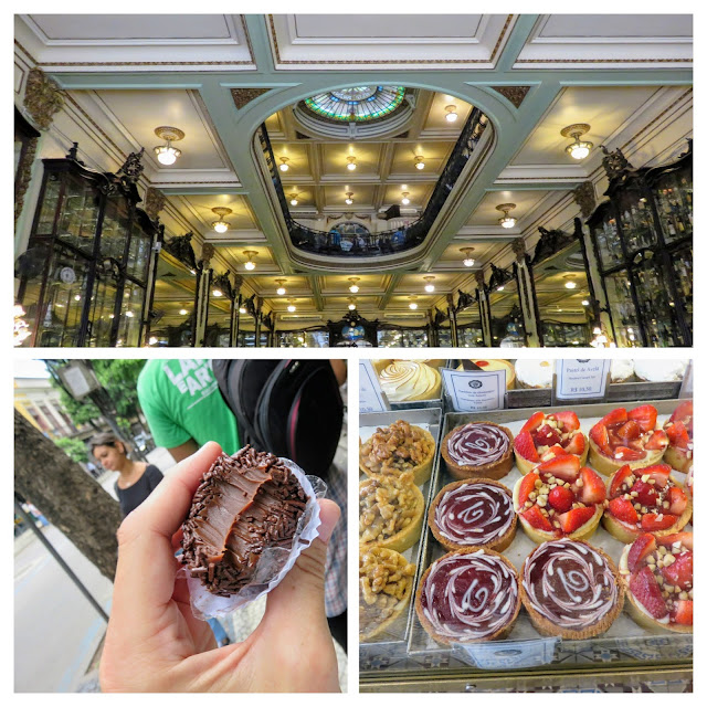 Collage of Confeitaria Colombo interior and brigadeiro treats in the Centro District of Rio de Janeiro