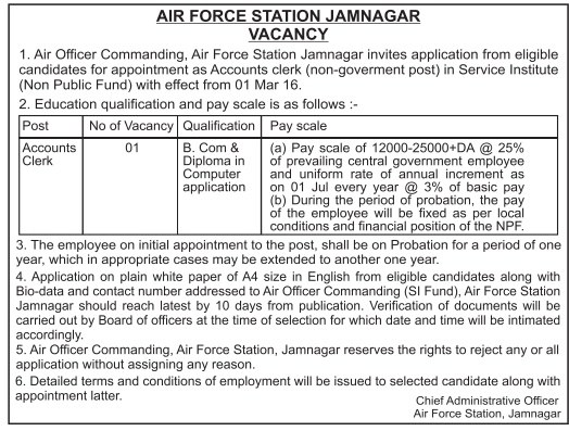 AIR FORCE STATION JAMNAGAR, VACANCY