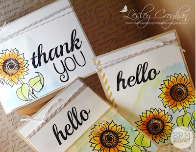SRM Stickers Blog -  Water Coloured Sunflower Trio by Lesley  - #cards #cardset #autumn #autumnblessings #janesdoodles #bighello #hello #thankyou #lace #twine