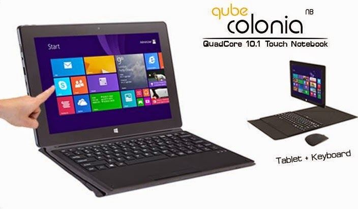 Qube Colonia Touch Notebook, 10.1-inch Windows 8.1 Tablet with Keyboard Case for Php9,990
